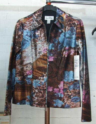 Eve Us 8 Bnwt Ribkoff up Glorious Jacket 10 Irrecescent Joseph Uk Metallic Zip pqCFC