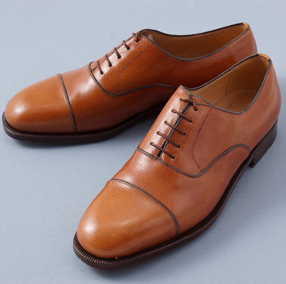 NIB  3800 SILVANO LATTANZI Whiskey Tan Grained Leather Balmoral US 8.5 shoes