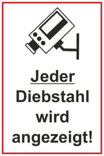 Hinweis 300 x 200 mm Warn und Verbotsschild P Jeder Diebstahl wird angezeigt!