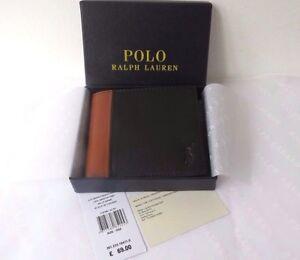 scarpe sportive 0ea53 b6c3b POLO Ralph Lauren Bi-fold Portafoglio Uomo Nero 2-Tone CUSTODIA IN ...