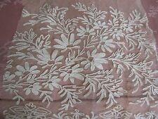 Antique French Tambour Lace Curtain Remnant Cutter Piece Doll Bodice Trim Crafts