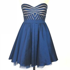 Aidan-Maddox-Blue-Strapless-Party-Dress-Womens-Size-10-Mesh-Inset-Fit-Flare
