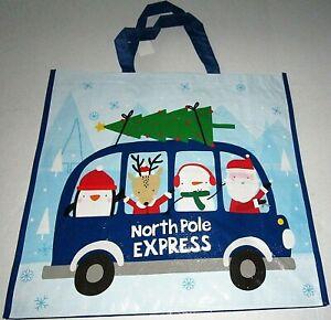 """CHRISTMAS Reusable Tote Bag 19/"""" X 18/"""" X 7/"""" WISHING YOU A PAWSOME HOLIDAY"""