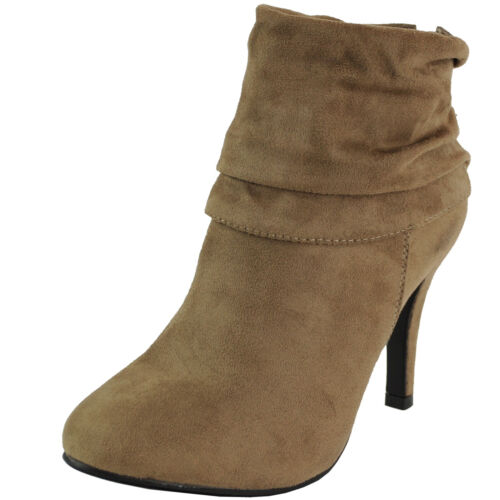 New women/'s shoes ankle boots bootie suede like back zipper casual Tan taupe