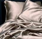 Comfort Silver Gray Soft Satin Silky Sheet Set Queen Size Flat Fitted Pillowcase