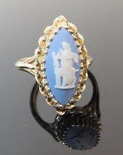 Beautiful Blue Wedgewood Jasperware Cameo Ring 14k YG Marquise Estate Vintage