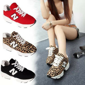 Womens Leopard Print Sneakers High Platform Athletic Black/Red ...