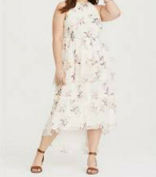 2a1b1acfd9327 Torrid White Floral Tiered Chiffon Maxi Dress 00x Med Large 10 #17474 for sale  online | eBay