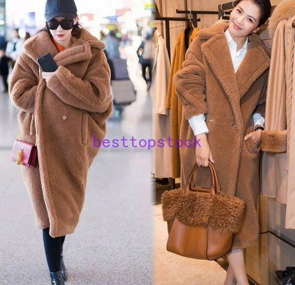 Hot Winter Luxury Womens Faux Fur Teddy Teddy Teddy Bear Feel Alpaca and Wool Mid Long Coat f0da3a