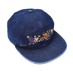 9736d6b2069 NWT Supreme NY Men s Dark Blue Denim Friends Logo 6-Panel Hat Cap ...