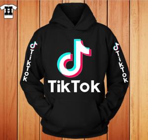 Tiktok graphic Premium Black Hoodie with tiktok sleeve prints