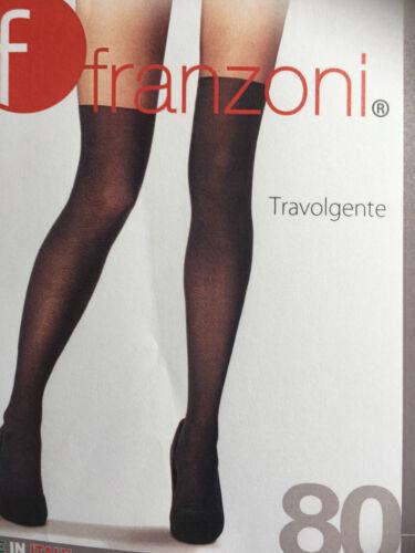 schwarz Blickdichte Strumpfhose 80 DEN Größe 40-42 Franzoni Overknee-Optik