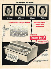 PUBLICITE ADVERTISING  1960   THERMO-FAX   SECRETARY    photocopieuse