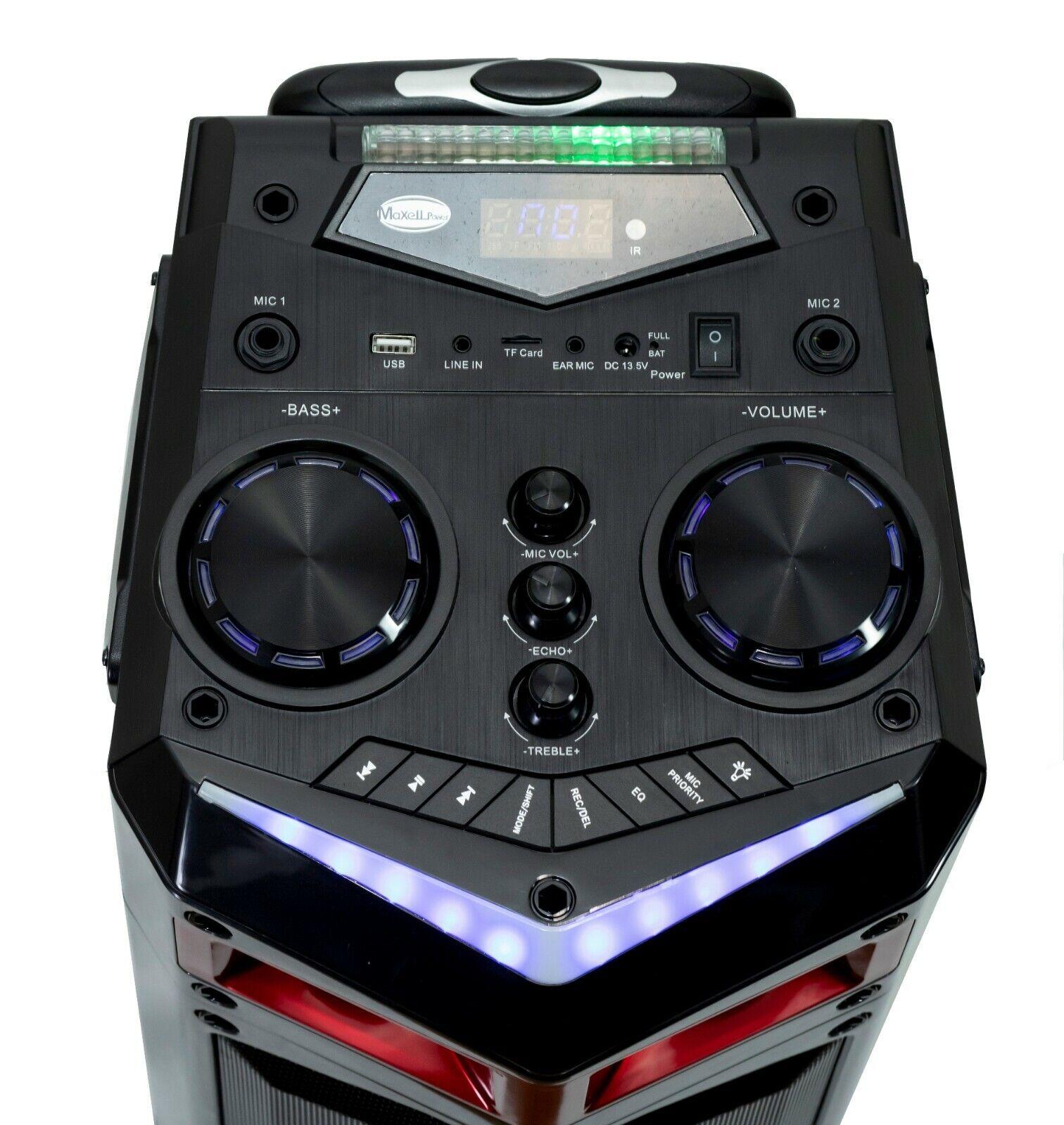 Portable trolley speaker with wheels bluetooth led usb karaoke microphone 60w