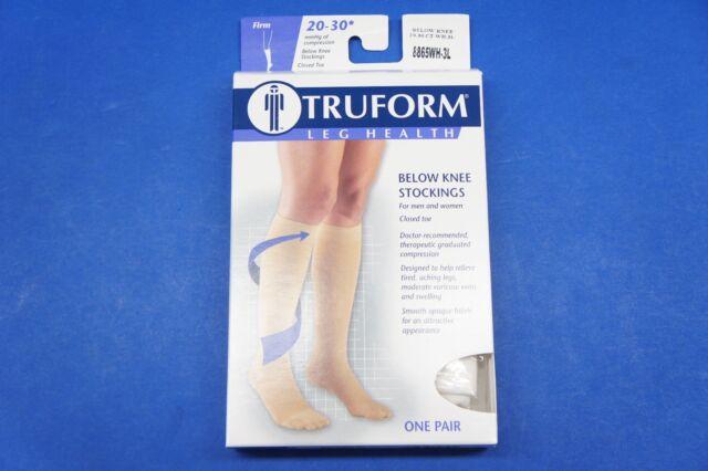 3f984d25420 Truform 8865 Compression Stockings Below Knee Closed Toe 20-30 mmHg White  3x-large