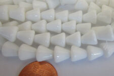 50 Rare Vintage Czech Glass 8mm Shiny Chalk White Cone Beads