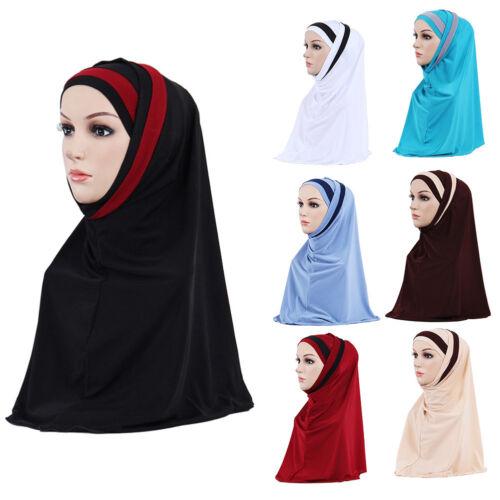 EG/_ WOMEN FASHION DOUBLE COLOR SPLICING SCARF MUSLIM HIJAB HEAD WRAP HEADSCARF U