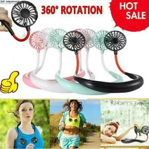 Portable USB Rechargeable Lazy Fan Hanging Neck Mini Cooling Sports Rest Fan