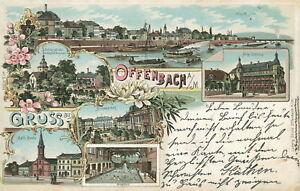 Ansichtskarte-Offenbach-a-M-1899-Stadtbad-Kirche-Markt-Nr-830