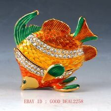 Chinese Cloisonne Handwork Carved  Goldfish Jewelry Statue Box QW0355