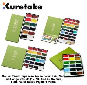 Kuretake-zig-Gansai-Tambi-traditionnelle-japonaise-grand-pan-aquarelle-peinture-sets