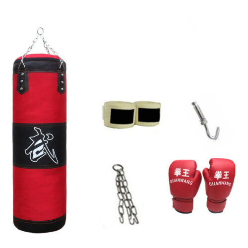 Heavy Boxing Punching Bag Training Gloves Speed Set Kicking MMA Workout Empty US
