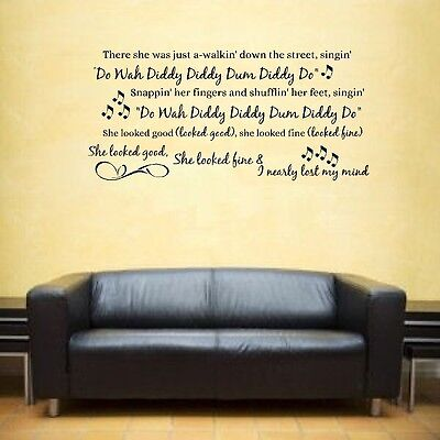 Do Wah Diddy Manfred Mann Song Music Lyrics Notes Love Quote Sticker Wall Art