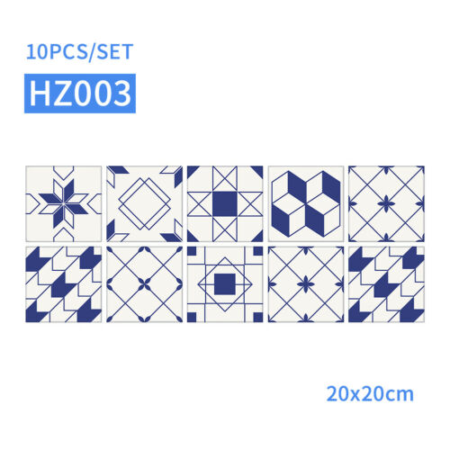10pcs//set Self Adhesive Home Tile Stickers Wall Decor Moroccan Style Kitchen
