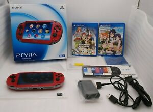 Used-PS-Vita-Console-Cosmic-Red-PCH-1000-Wi-Fi-w-Charger-Box-amp-2Games-PSVITA