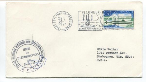 1971 Centre National D'etudes Des Telecommunications Bodou Nord Usa Space Cover Doux Et LéGer