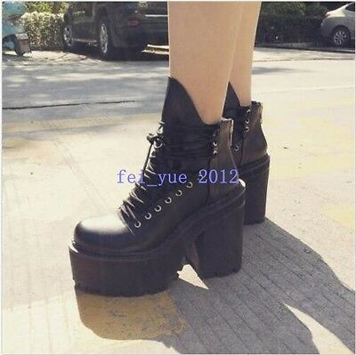 punk rock chunky high heel women lace up zip platform army ankle boots shoes new