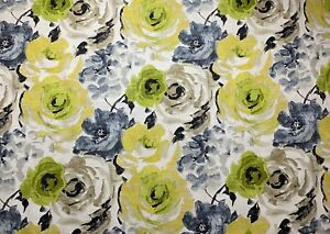 Watercolor-Floral-Citron-Green-Blue-Taupe-Yellow-Upholstery-Fabric-By-The-Yard