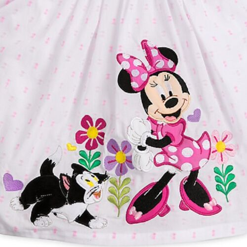 DISNEY STORE MINNIE MOUSE VINTAGE-STYLE WOVEN SUN DRESS FURRY FLOCKED FIGARO