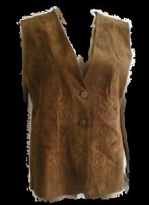Damen-Trachten-Leder-Weste-Gilet-braun-Stickerei-Gr-40-42-44-50-NEU