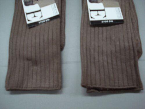 NWT Women/'s Hue Silky Rib Trouser Socks One Size Mink 3 Pair #160J
