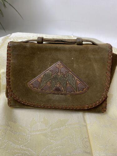 Vintage Ladies Brown Suede Leather Wallet 1930's … - image 1