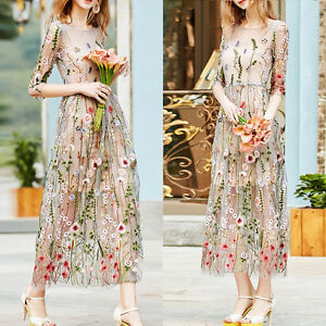 Princess-Women-Girl-Embroidered-Lace-Floral-Long-Sheer-Tunic-Mesh-Dress-TOP-Set