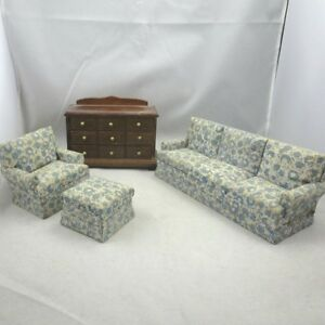 Vintage Handmade Wood Dollhouse Furniture Upholstered Sofa Chair