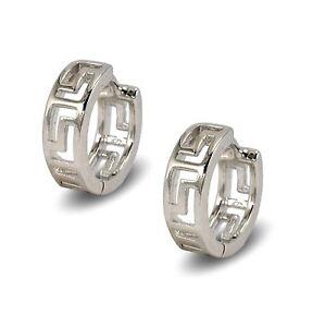 Blue Diamond Club - Pair 18ct Yellow Gold Filled Womens Slim Hoop Earrings Greek Key Pattern 17mm DJg7z