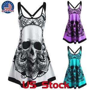 Women Goth Punk Skull Printed Strappy Vest Dress Summer Sleeveless Slip Dresses
