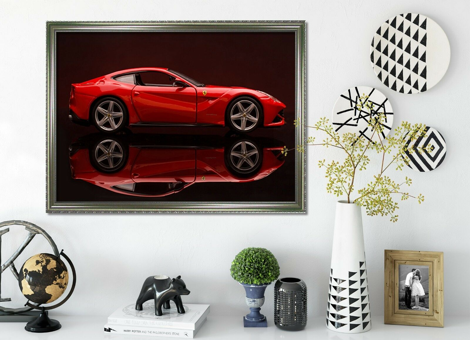 3D Rotes Luxusauto 1 Gerahmt Poster Daheim Dekor Drucken Malerei Kunst AJ DE