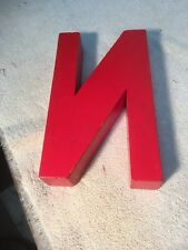 Letter N Big Vtg Wood Block Type Italic Font 8in X 5in X 15in Red