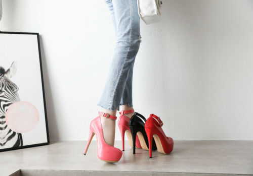 a2adbc6ce9 Platform Shoes red Heels magenta Strap Mens Red Queen Black Drag Pumps  Ankle Costume Crossdresser qrTR7q