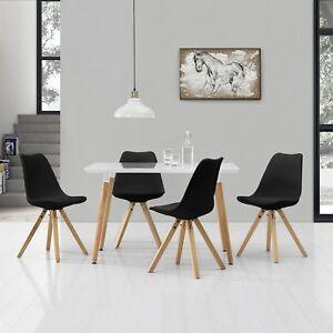 À Manger avec 4 Chaises Blanc/Noir [120x70cm] Table Chaises Salle à ...