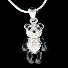 w Swarovski Crystal ~Black Enamel Paint Cute PANDA BEAR Chinese Necklace Jewelry