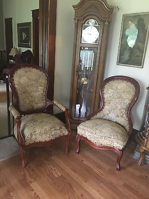 Antique Victorian Living Room Furniture Set Upholstered Mahogany Couch Chairs Ebay