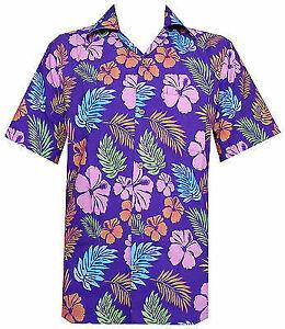 Hawaiian-Shirt-Mens-Hibiscus-Floral-Leaf-Print-Beach-Aloha-Camp-Party