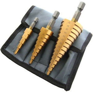 3pc-Large-Cone-High-Speed-Steel-Step-Hole-Cutting-Drill-Bit-Set-Cutter-NEW