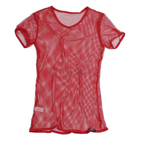 Mens Shirts Mesh See-through Short Sleeve Top T-shirt Gym Sports Vest Tank Tee