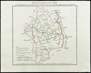 1802-Landkarte-Antik-Verwaltungsbezirk-Du-Cher-von-Chanlaire-Frankreich